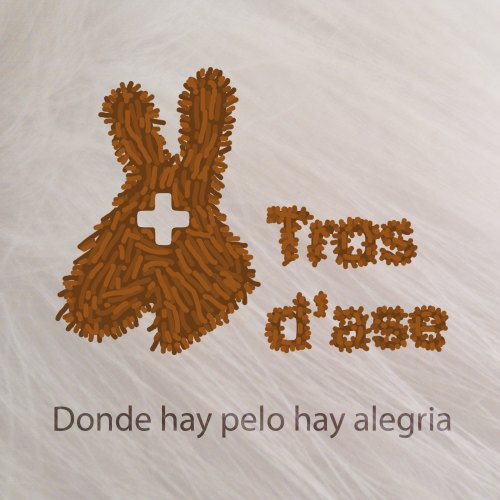 """Logotip de Tros d'ase amb pels, a sota el text """"Donde hay pelo hay alegria"""""""